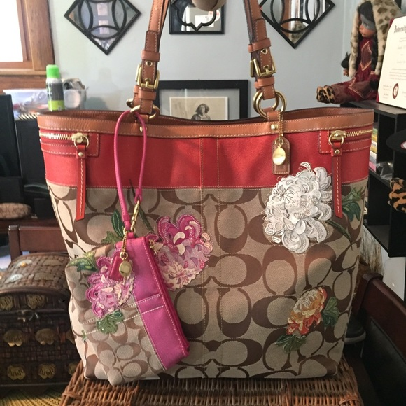 Coach Handbags - Coach Signature Stripe Floral Limited Edition Tote 48091d2846a1a